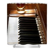 A Shot Of Bourbon Whiskey And The Black And White Piano Ivory K Shower Curtain