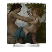 A Young Girl Defending Herself Against Eros Shower Curtain