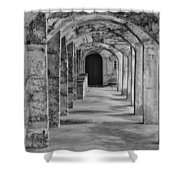 Archway At Moravian Pottery And Tile Works In Black And White Shower Curtain