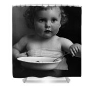 Baby Eating Cereal 1910s Black White Archive Boy Shower Curtain