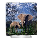 Baby Elepant An Mother At A Pond Shower Curtain