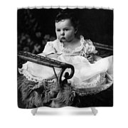 Baby In Chair 1910s Black White Archive Boy Kids Shower Curtain