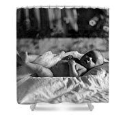 Baby Lying Blanket 1910s Black White Archive Shower Curtain