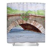 Baskets Of Flowers On Bridge To Westport Ireland Shower Curtain