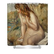 Bather Seated On A Rock Shower Curtain