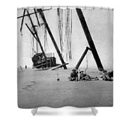 Beached Sailing Ship Circa 1900 Black White Shower Curtain