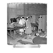 Blood Drive 1958 Black White 1950s Archive Brick Shower Curtain
