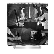 Blood Drive February 1964 Black White 1960s Shower Curtain