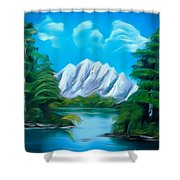 Blue Lake Mirror Reflection Dreamy Mirage Shower Curtain