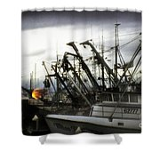Boats With Sprays Of Light Shower Curtain