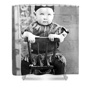 Boy Dressed Elf Sitting Backwards In Chair 1890s Shower Curtain