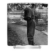 Boy In Baseball Uniform Posing Bat Circa 1898 Shower Curtain