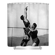 Boy Shooting Basketball 1910s Black White Ball Shower Curtain