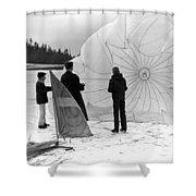 Boys Frozen Lake Parachute Sailboard Circa 1960 Shower Curtain