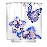 Butterfly Amongst The Flowers Shower Curtain
