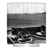 Cannons In Fort Aimed Harbor Circa 1865 Black Shower Curtain