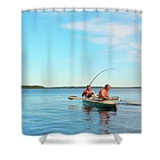 Canoe Fishing  On Blue Lake Shower Curtain