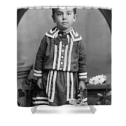 Child Kid Flowers 1890s Black White Archive Boot Shower Curtain