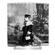 Child Kid In Fancy Velvet Outfit 1890s Black Shower Curtain