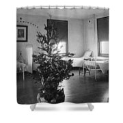 Christmas Tree In Hospital Ward 1923 Black White Shower Curtain