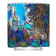 Church Blue - My Www Vikinek-art.com Shower Curtain