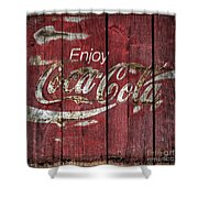 Coca Cola Sign Barn Wood Shower Curtain