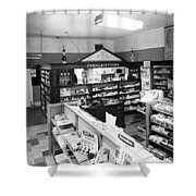 Counter In Drugstore 1959 Black White 1950s Shower Curtain