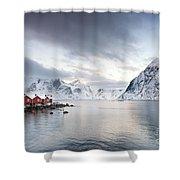 Dawn At Hamnoy On The Lofoten Islands Shower Curtain