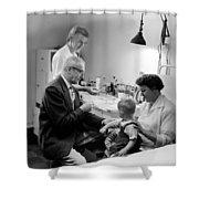 Doctor Giving Toddler Shot 1958 Black White Baby Shower Curtain