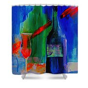Electric Terra Cotta Blues Shower Curtain