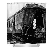 Exploded Train Car Robbery October 1923 Black Shower Curtain