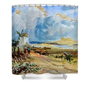 Figures Approaching A Windmill Shower Curtain