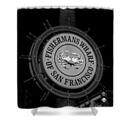 Fisherman's Wharf San Francisco-horizontal In Bw Shower Curtain