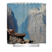 Fjord Landscape Shower Curtain