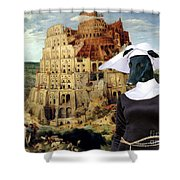 Galgo Espanol - Spanish Greyhound Art Canvas Print -the Tower Of Babel  Shower Curtain