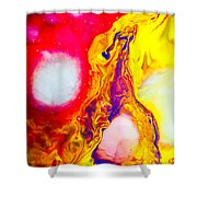 Giraffe In Flames - Abstract Colorful Mixed Media Painting Shower Curtain