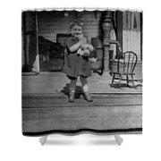 Girl Hugging Stuffed Animal Porch 1920s Black Shower Curtain