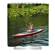 Girl In Canoe Shower Curtain