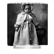 Girl Posing In Winter Coat 1903 Black White Shower Curtain