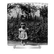 Girl Tomato Patch 1950s Black White Archive Kids Shower Curtain