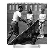 Girls Getting Tennis Lesson Circa 1960 Black Shower Curtain