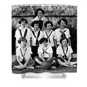 Girls High School Basketball Team 1910s Black Shower Curtain