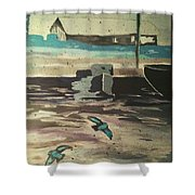 Gray Skies Out On The Sea  Shower Curtain