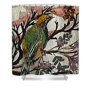 Green-yellow Bird Shower Curtain