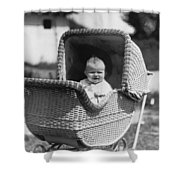 Happy Baby In Wicker Buggy Fall 1925 Black White Shower Curtain