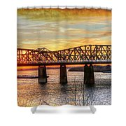 Harahan Bridge In Memphis,tennessee At Sunset Shower Curtain