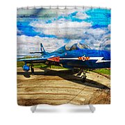 Hawker Hunter T7 Aircraft On Wood Shower Curtain