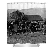 High School Football Game 1912 Black White 1910s Shower Curtain