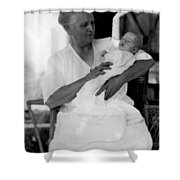 Holding Baby 1927 Black White 1920s Archive Boy Shower Curtain