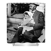 Holding Toddler 1912 Black White 1910s Archive Shower Curtain